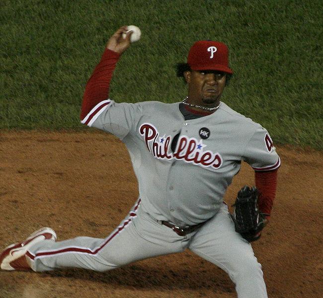 Pedro Martinez pitching for the Philadelphia Phillies