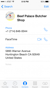 ios7 Contacts App - Beef Palace Butcher Shop info