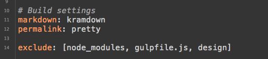 Jekyll config exclude settings code